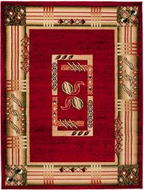 ATLAS Area Rug Modern Short Pile Abstract Frame Beige Red