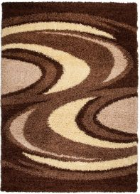 RIO Area Rug Modern Shaggy Long Pile Thick Waves Brown Beige