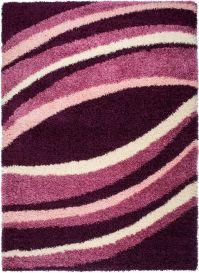 RIO Area Rug Shaggy Modern Abstract Wavy Lines Dark Purple