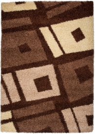 RIO Area Rug Modern Shaggy Long Pile Abstract Squares Brown