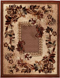 ATLAS Area Rug Floral Modern Short Pile Flower Beige Brown