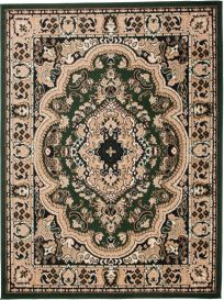 ATLAS Area Rug Traditional Short Pile Medallion Beige Green