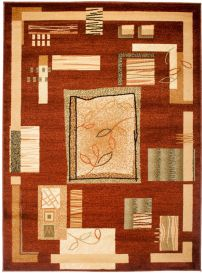 DORIAN Area Rug Modern Short Pile Geometric Leaves Brown