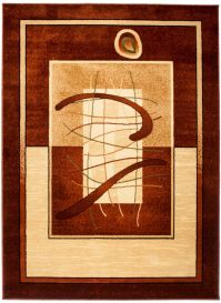 DORIAN Modern Area Rug Short Pile Abstract Shapes Brown Beige