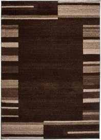 SARI Teppich Kurzflor Modern Dunkelbraun Beige Streifen Design