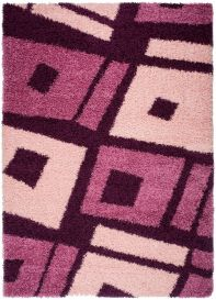 RIO Area Rug Modern Shaggy Long Pile Abstract Squares Purple