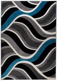 SUMATRA Area Rug Contour Cut Waves Grey Black Blue