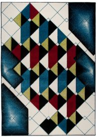 SUMATRA Area Rug Contour Cut Modern Abstract Triangles Blue