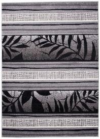 SUMATRA Designer Teppich Kurzflor Grau Schwarz Linien Floral