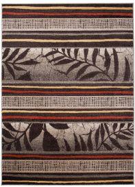 SUMATRA Area Rug Contour Cut Modern Leaves Lines Light Brown