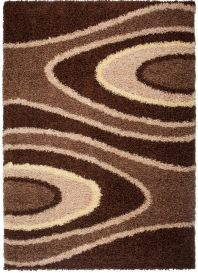RIO Area Rug Modern Shaggy Long Pile Abstract Brown Beige