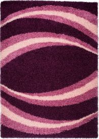 RIO Area Rug Shaggy Modern Round Lines Abstract Violet Purple