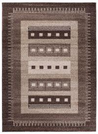 SARI Teppich Kurzflor Beige Braun Vintage Design Meliert