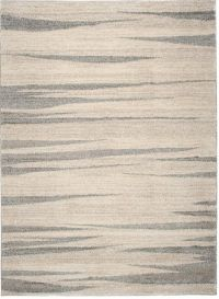 SARI Area Rug Modern Contemporary Short Pile Stripes Cream Grey