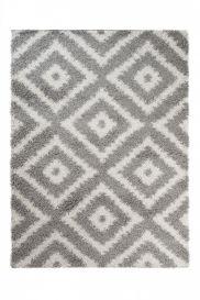 SCANDINAVIA Teppich Shaggy Modern Hochflor Karo Grau Weiß
