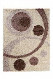 SCANDINAVIA Teppich Shaggy Hochflor Modern Kreise Creme Braun