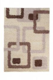 SCANDINAVIA Teppich Shaggy Hochflor Vierecke Braun Beige Modern