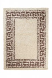 SCANDINAVIA Teppich Shaggy Hochflor Griechisch Braun Beige Design