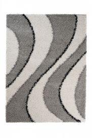 SCANDINAVIA Teppich Shaggy Hochflor Modern Wellen Grau Weiß