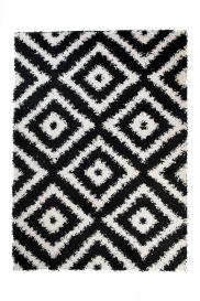 SCANDINAVIA Tapis Moderne Marrocain Noir Blanc Shaggy