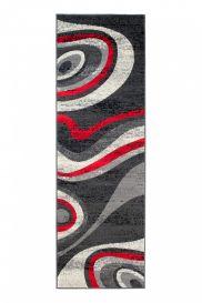 DREAM Läufer Teppich Kurzflor Modern Grau Creme Rot Streifen