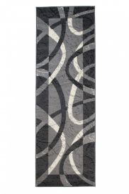 DREAM Carpet Runner Modern Abstract Curves Durable Light Dark Grey