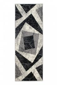 DREAM Carpet Runner Modern Geometric Shapes Light Dark Grey