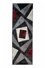 DREAM Carpet Runner Modern Geometric Shapes Grey Black Red