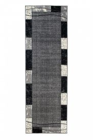 DREAM Carpet Runner Modern Frame Rectangle Hallway Dark Grey
