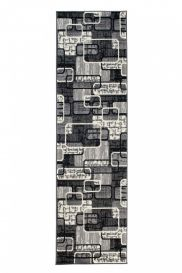 DREAM Carpet Runner Modern Shapes Abstract Light Dark Grey
