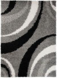 SCANDINAVIA Teppich Shaggy Hochflor Modern Wellen Grau Creme