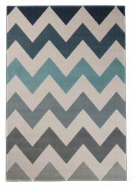 CAN Area Rug Modern Short Pile ZigZag Multicolour Grey Blue