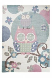 HAPPY Kids Area Rug Short Pile Play Mat Cute Owls Birds Cream