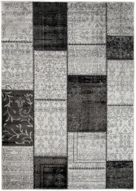 TANGO Area Rug Patchwork Floral Decorative Rectangle Black Grey