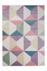 HAPPY Area Rug Modern Short Pile Youth Geometric Multicolour