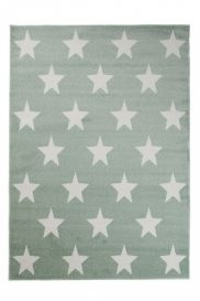 HAPPY Area Rug Modern Short Pile Youth Kids Stars Green