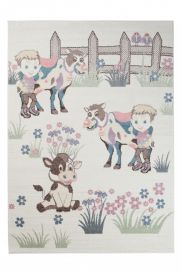 HAPPY Kids Area Rug Short Pile Play Mat Farm Animals Cream