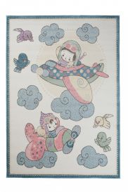 HAPPY Kids Area Rug Short Pile Play Mat Plane Clouds Cream