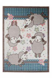 HAPPY Teppich Kurzflor Modern Kinderteppich Creme Blau Schaf