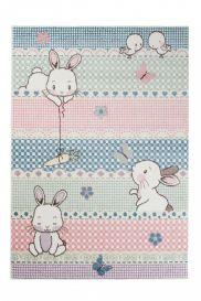 HAPPY Teppich Kurzflor Kinderteppich Rosa Creme Bunt Hasen