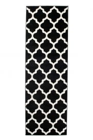 MAROKO Läufer Teppich Kurzflor Marokkanisch Gitter Schwarz Creme