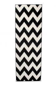 MAROKO Modern Carpet Runner Hallway ZigZag Black Cream