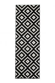MAROKO Modern Carpet Runner Hallway Diamond Black Cream