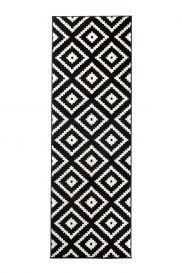 Maroko Teppich Läufer Kurzflor Schwarz Creme Geometrisch Karo