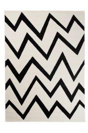 MAROKO Area Rug Modern Short Pile ZigZag Geometric Cream Black
