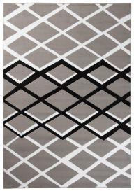 DREAM Teppich Modern Kurzflor Grau Schwarz Weiß Karo