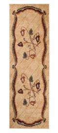 ATLAS Modern Carpet Runner Short Pile Abstract Leaf Beige
