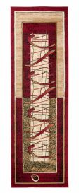 ATLAS Modern Carpet Runner Short Pile Abstract Hallway Red
