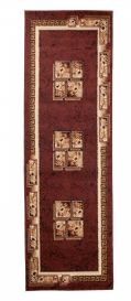 ATLAS Modern Carpet Runner Short Pile Floral Greek Brown