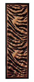 ATLAS Modern Carpet Runner Short Pile Animal Tiger Black Beige